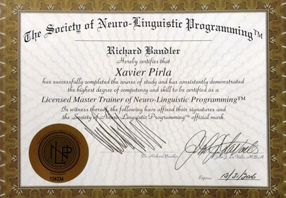 Xavier Pirla, Único Master Trainer de PNL de España